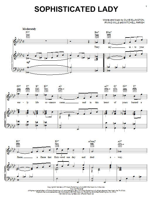 Download Duke Ellington Sophisticated Lady sheet music and printable PDF score & Jazz music notes