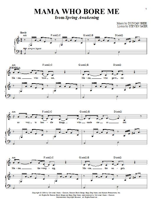 Download Duncan Sheik Mama Who Bore Me sheet music and printable PDF score & Rock music notes