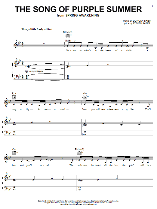 Download Duncan Sheik The Song Of Purple Summer sheet music and printable PDF score & Rock music notes