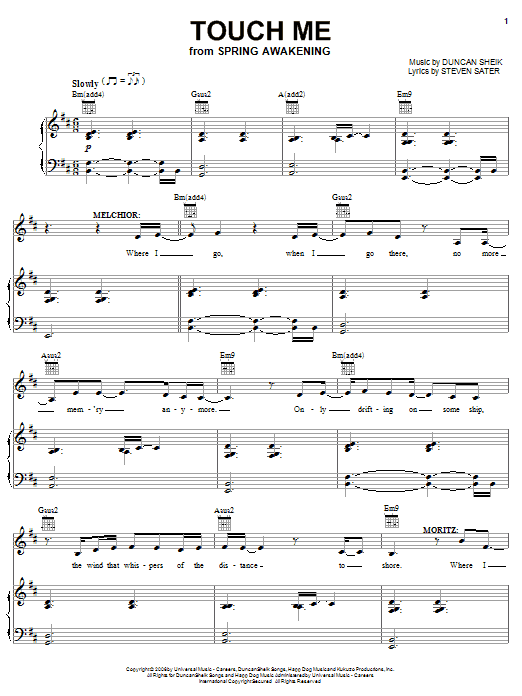 Download Duncan Sheik Touch Me sheet music and printable PDF score & Rock music notes