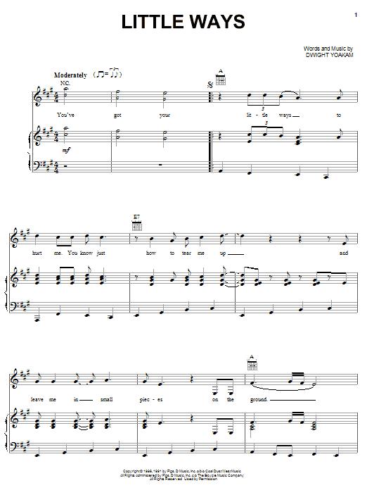 Download Dwight Yoakam Little Ways sheet music and printable PDF score & Pop music notes