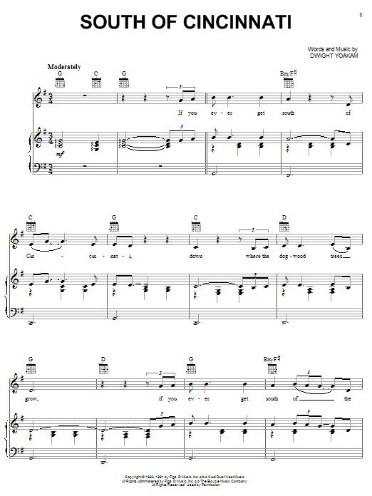 Download Dwight Yoakam South Of Cincinnati sheet music and printable PDF score & Pop music notes