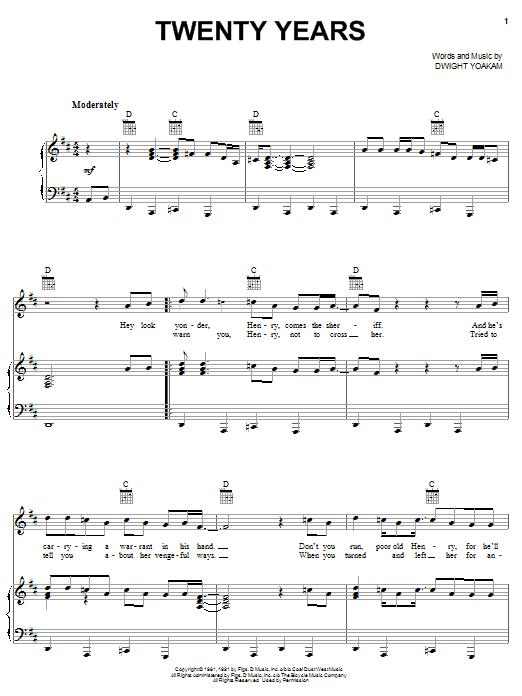Download Dwight Yoakam Twenty Years sheet music and printable PDF score & Pop music notes
