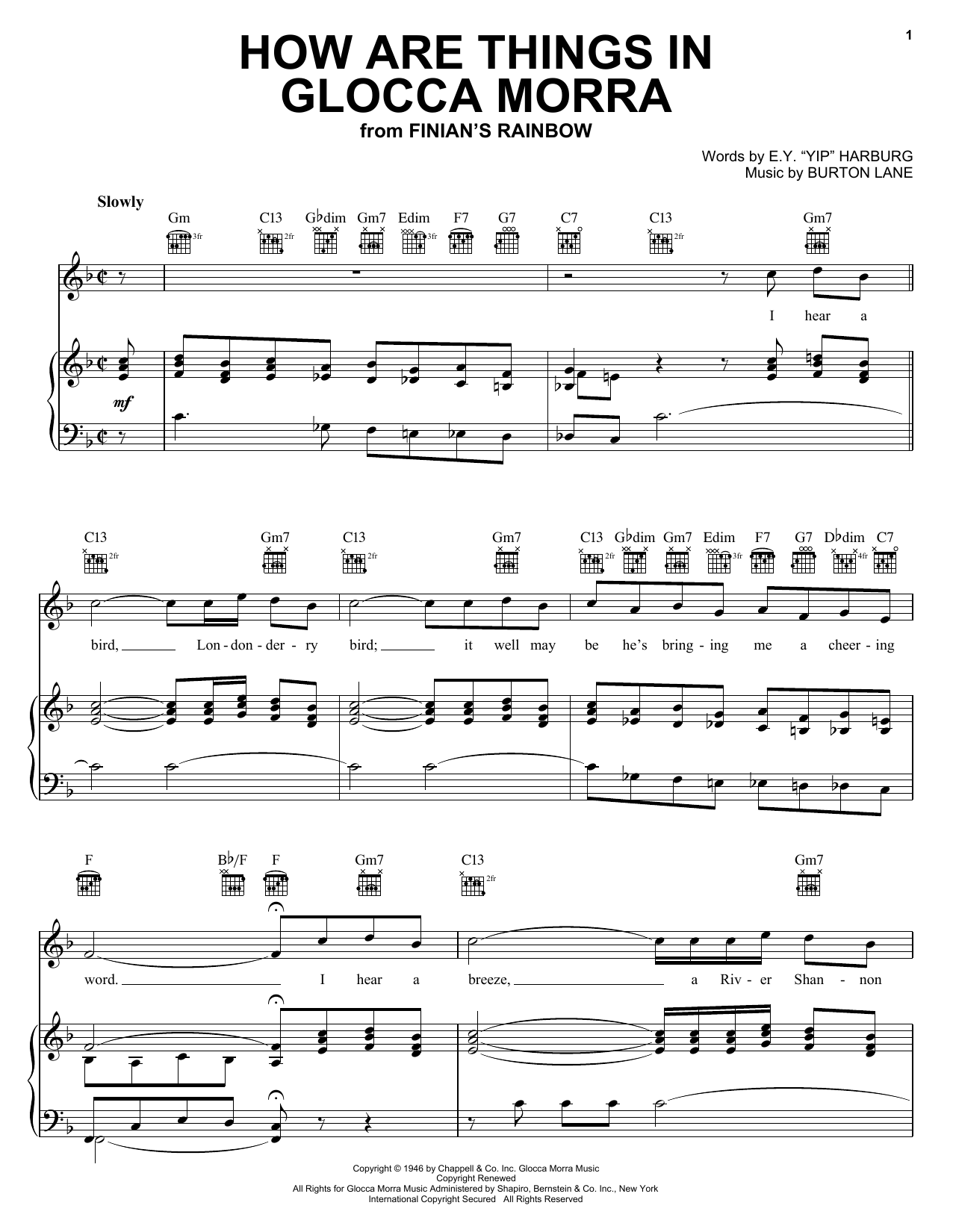 Download E.Y. Harburg How Are Things In Glocca Morra sheet music and printable PDF score & Pop music notes