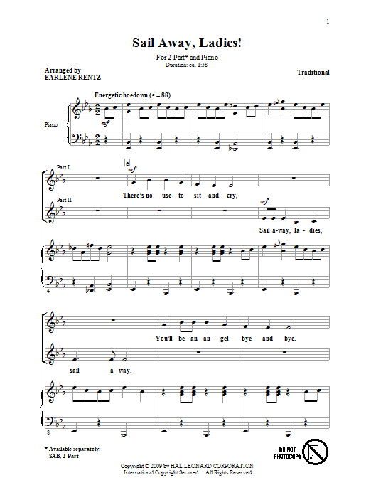 Download Traditional Sail Away, Ladies! (arr. Earlene Rentz) sheet music and printable PDF score & Concert music notes