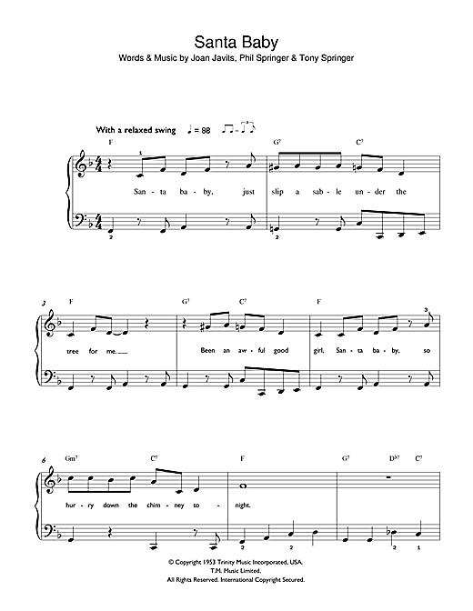Download Eartha Kitt Santa Baby sheet music and printable PDF score & Christmas music notes