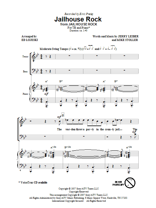 Download Ed Lojeski Jailhouse Rock sheet music and printable PDF score & Pop music notes