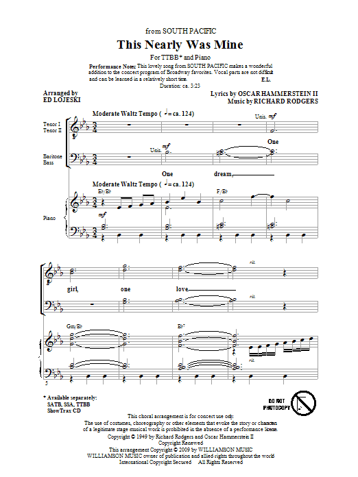 Download Ed Lojeski This Nearly Was Mine (from South Pacific) sheet music and printable PDF score & Concert music notes