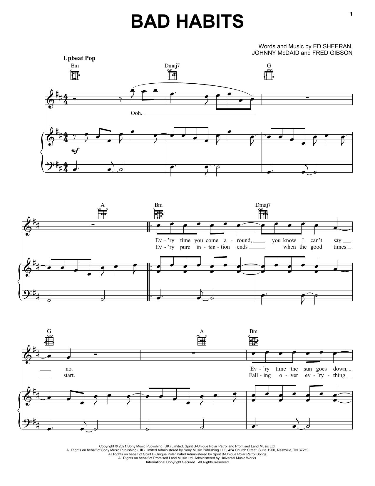 Download Ed Sheeran Bad Habits sheet music and printable PDF score & Pop music notes