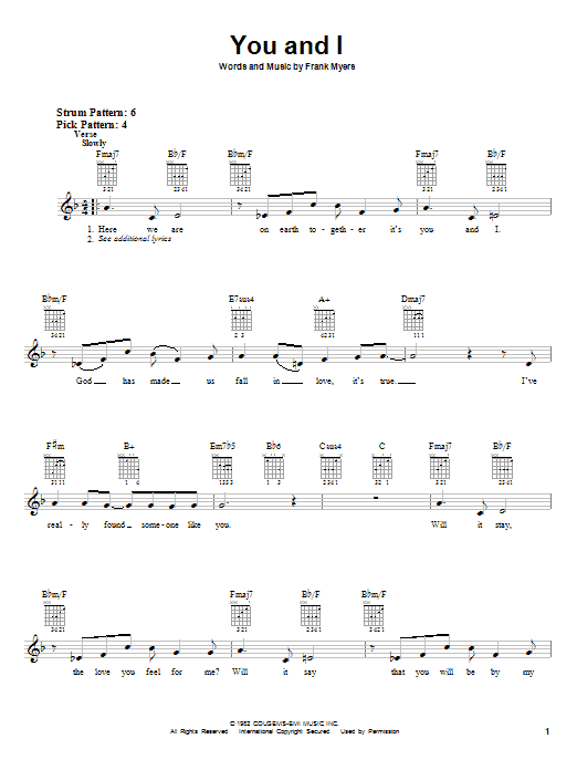 Download Eddie Rabbitt with Crystal Gayle You And I sheet music and printable PDF score & Pop music notes