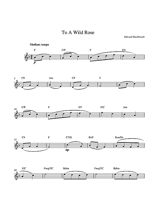 Download Edward MacDowell To A Wild Rose sheet music and printable PDF score & Classical music notes