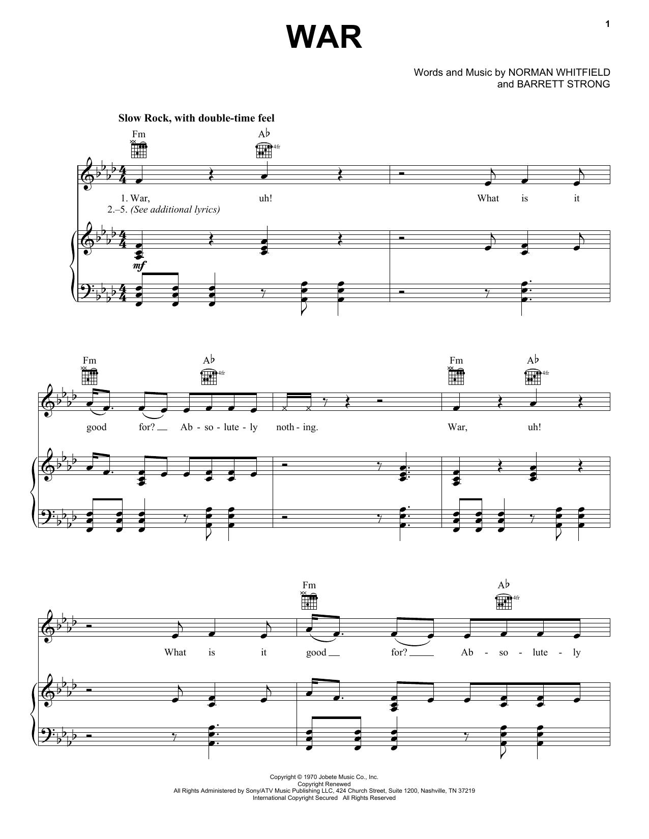 Download Edwin Starr War sheet music and printable PDF score & Pop music notes