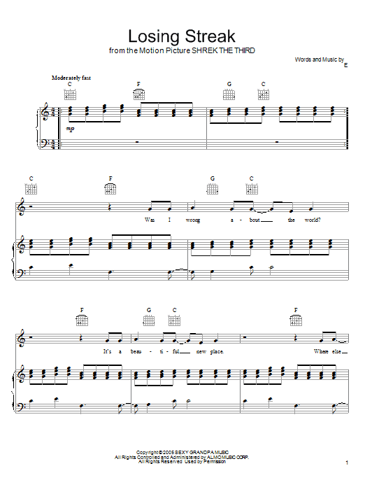 Download Eels Losing Streak sheet music and printable PDF score & Pop music notes