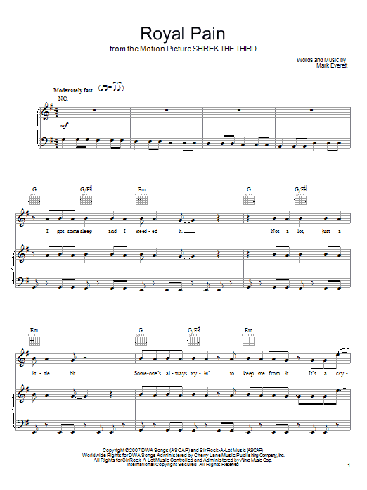 Download Eels Royal Pain sheet music and printable PDF score & Pop music notes