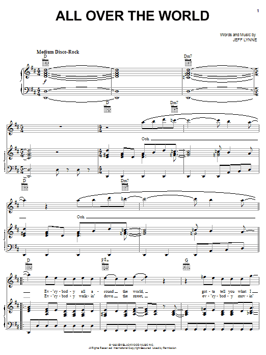 Download Electric Light Orchestra All Over The World sheet music and printable PDF score & Rock music notes