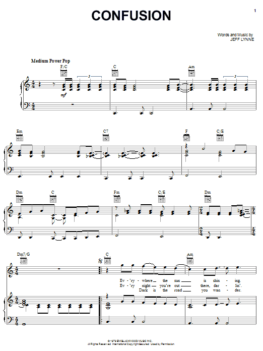Download Electric Light Orchestra Confusion sheet music and printable PDF score & Rock music notes