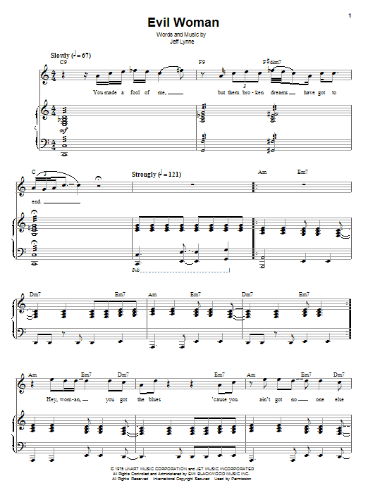 Download Electric Light Orchestra Evil Woman sheet music and printable PDF score & Rock music notes