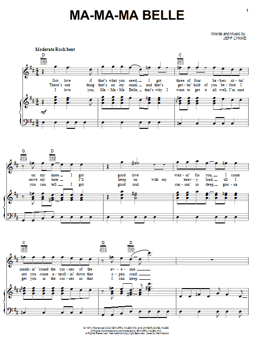 Download Electric Light Orchestra Ma-Ma-Ma Belle sheet music and printable PDF score & Rock music notes