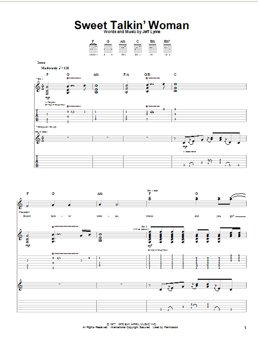 Download Electric Light Orchestra Sweet Talkin' Woman sheet music and printable PDF score & Pop music notes