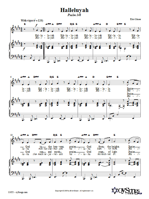 Download Eliot Glaser Halleluyah (Psalm 148) sheet music and printable PDF score & Religious music notes