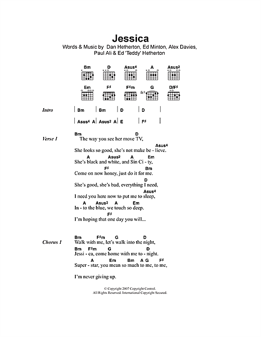 Download Elliot Minor Jessica sheet music and printable PDF score & Rock music notes