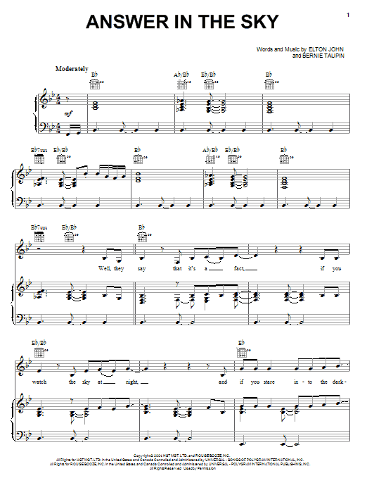 Download Elton John Answer In The Sky sheet music and printable PDF score & Rock music notes