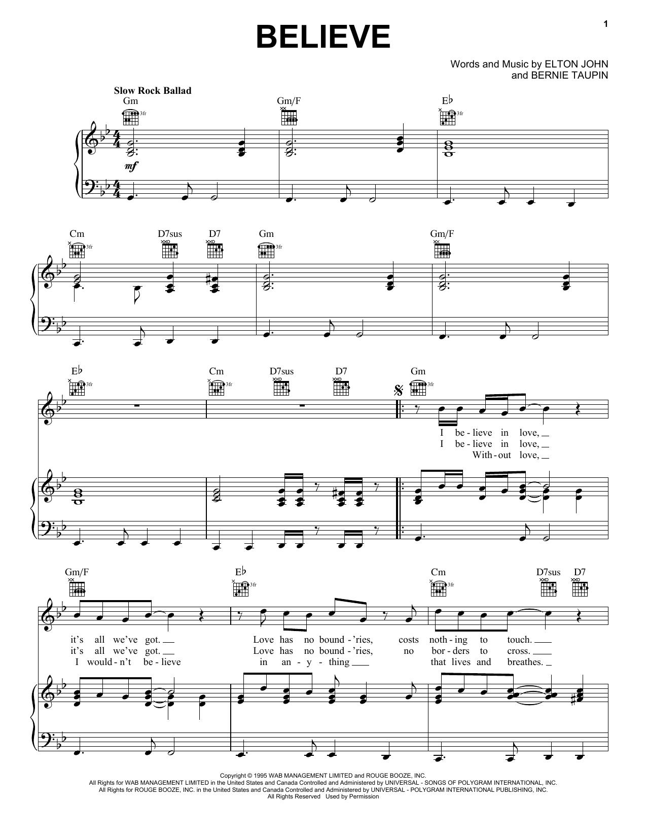 Download Elton John Believe sheet music and printable PDF score & Rock music notes