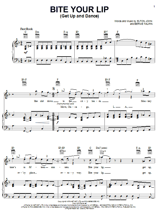 Download Elton John Bite Your Lip (Get Up And Dance) sheet music and printable PDF score & Rock music notes