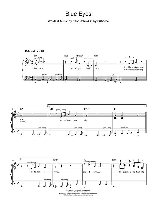 Download Elton John Blue Eyes sheet music and printable PDF score & Rock music notes