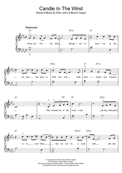 Download Elton John Candle In The Wind sheet music and printable PDF score & Rock music notes