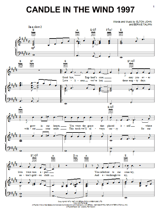 Download Elton John Candle In The Wind 1997 sheet music and printable PDF score & Rock music notes