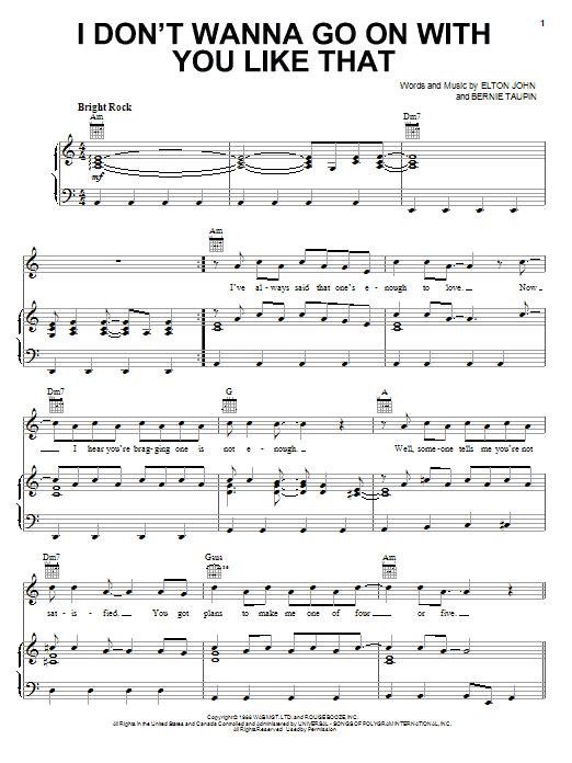Download Elton John I Don't Wanna Go On With You Like That sheet music and printable PDF score & Rock music notes