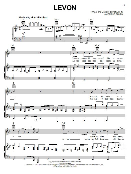 Download Elton John Levon sheet music and printable PDF score & Rock music notes