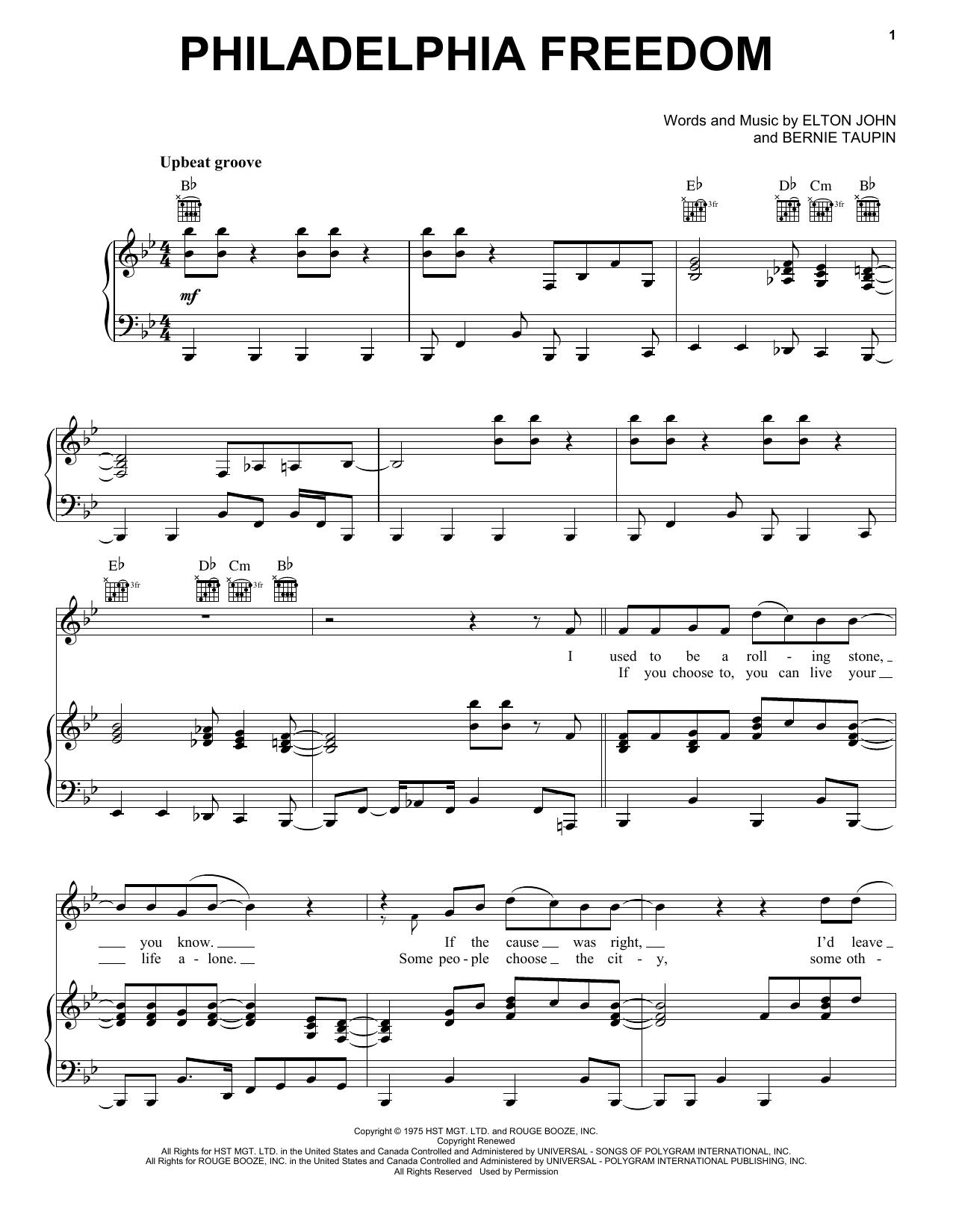 Download Elton John Philadelphia Freedom sheet music and printable PDF score & Rock music notes