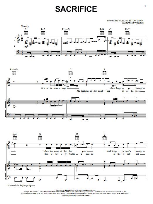 Download Elton John Sacrifice sheet music and printable PDF score & Rock music notes