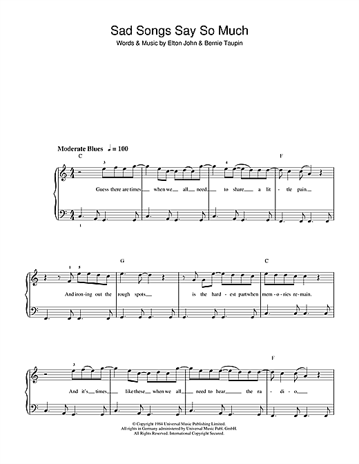 Download Elton John Sad Songs (Say So Much) sheet music and printable PDF score & Rock music notes