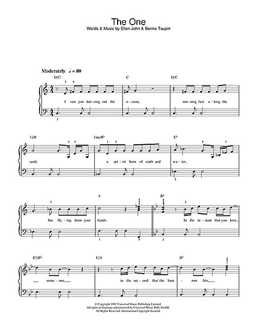 Download Elton John The One sheet music and printable PDF score & Rock music notes