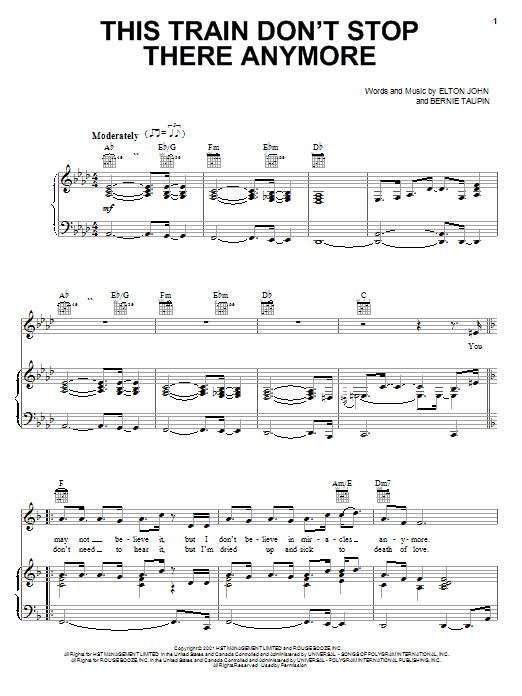 Download Elton John This Train Don't Stop There Anymore sheet music and printable PDF score & Rock music notes