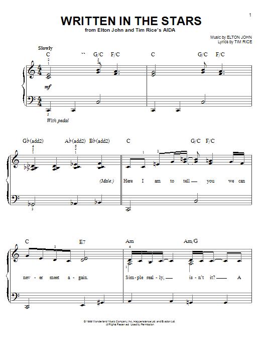 Download Elton John & LeAnn Rimes Written In The Stars sheet music and printable PDF score & Pop music notes