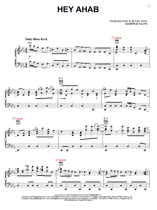 Download Elton John & Leon Russell Hey Ahab sheet music and printable PDF score & Rock music notes
