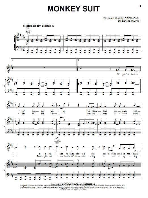 Download Elton John & Leon Russell Monkey Suit sheet music and printable PDF score & Rock music notes