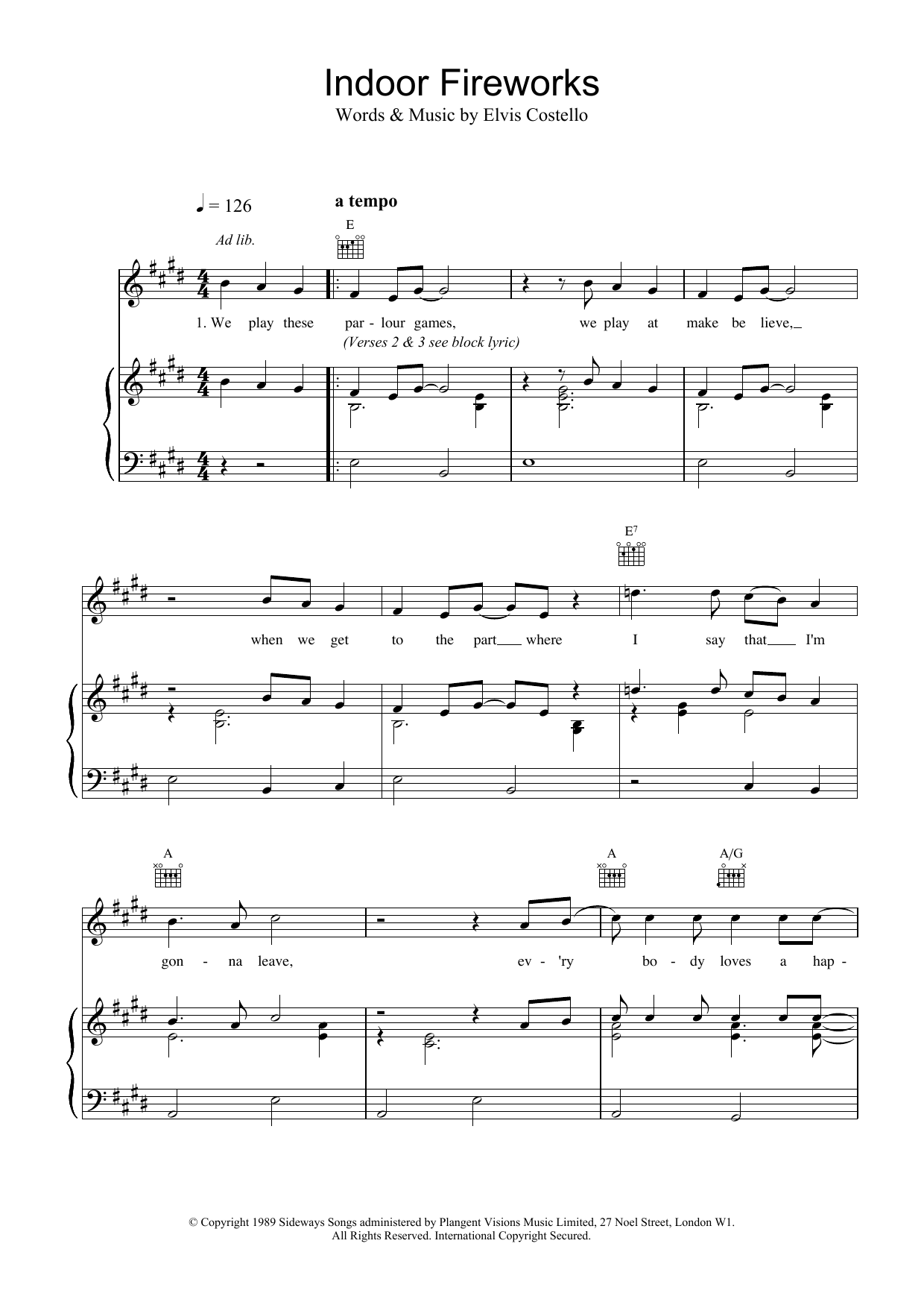 Download Elvis Costello Indoor Fireworks sheet music and printable PDF score & Rock music notes