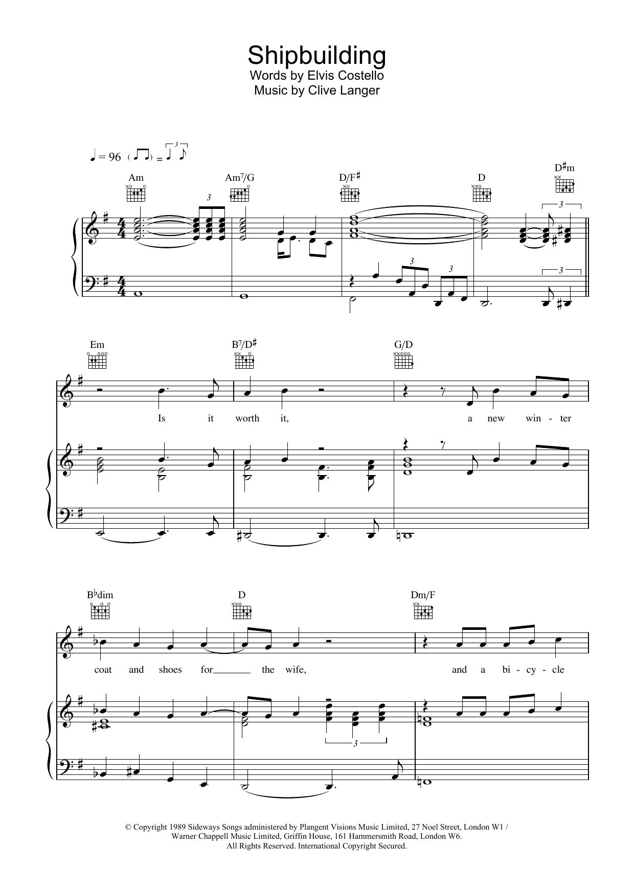 Download Elvis Costello Shipbuilding sheet music and printable PDF score & Rock music notes