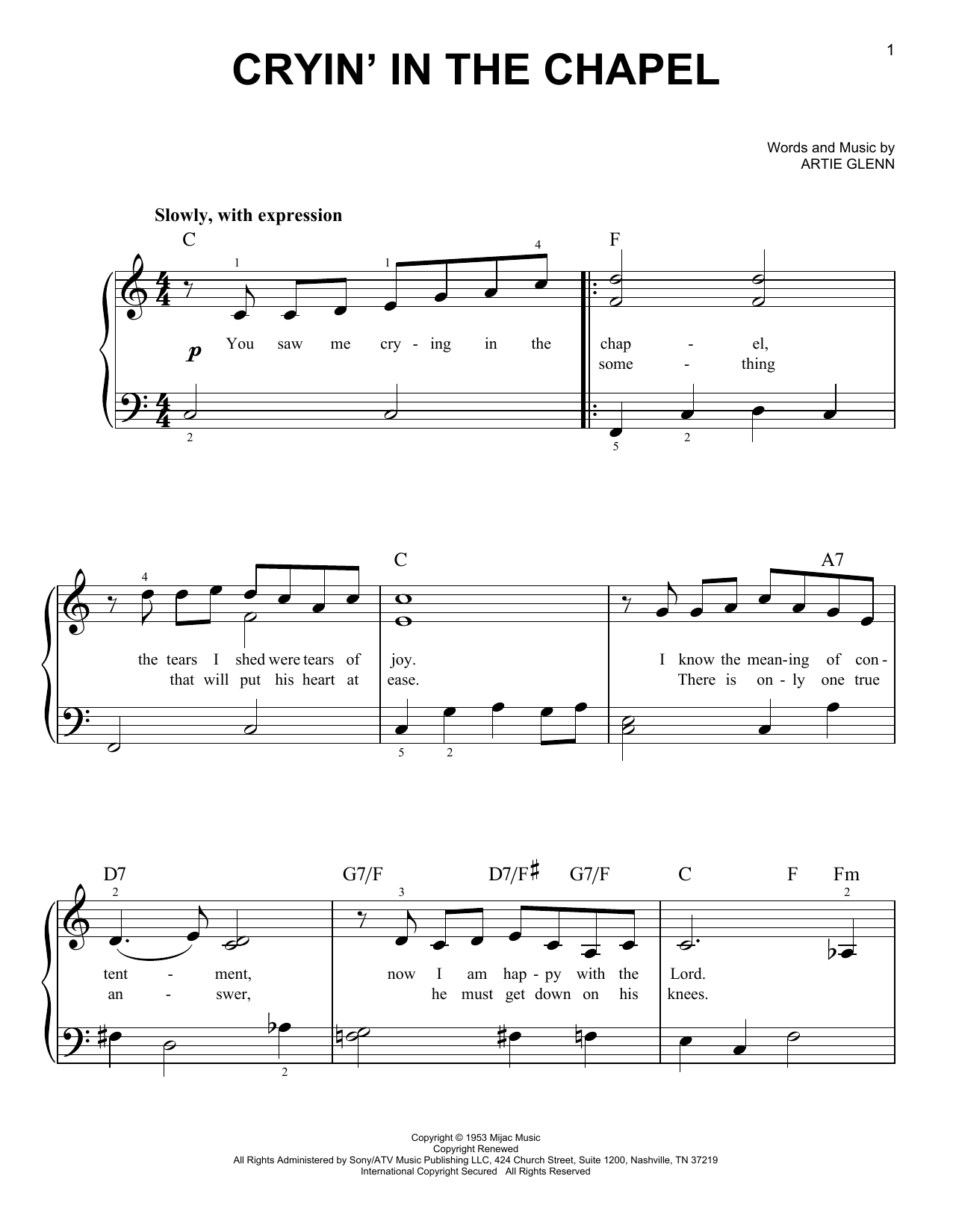 Download Elvis Presley Crying In The Chapel sheet music and printable PDF score & Pop music notes