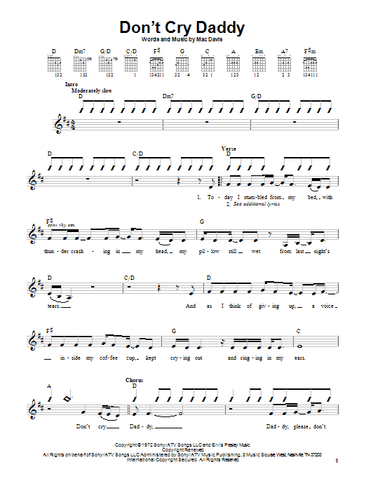 Download Elvis Presley Don't Cry Daddy sheet music and printable PDF score & Pop music notes