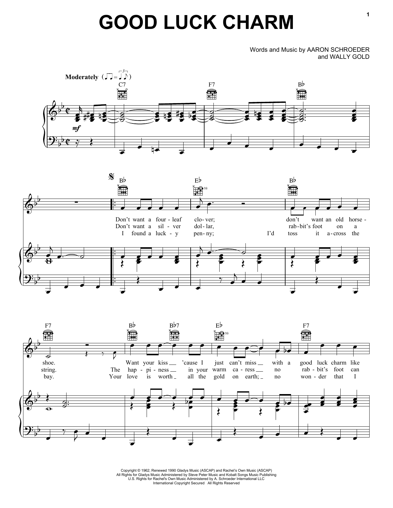Download Elvis Presley Good Luck Charm sheet music and printable PDF score & Rock music notes