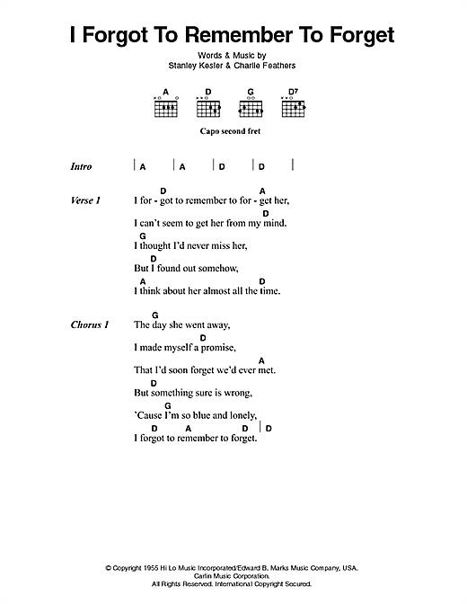 Download Elvis Presley I Forgot To Remember To Forget sheet music and printable PDF score & Pop music notes