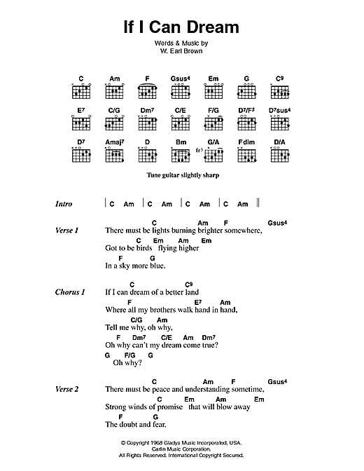 Download Elvis Presley If I Can Dream sheet music and printable PDF score & Rock music notes