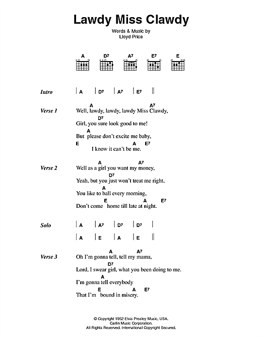 Download Elvis Presley Lawdy Miss Clawdy sheet music and printable PDF score & Pop music notes