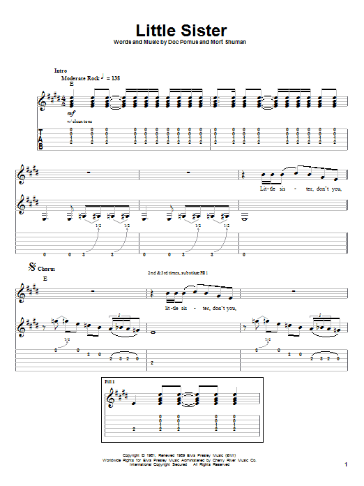 Download Elvis Presley Little Sister sheet music and printable PDF score & Rock music notes